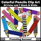 Colored Pencils Clipart, Back to School Supplies Commercial Use SPS