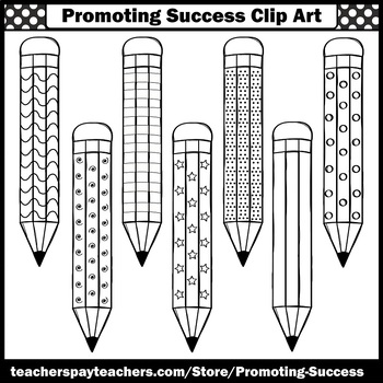Primary Colors Pencils Clipart, Back to School Supplies Clipart SPS