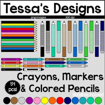 Colored Pencils, Crayons, & Markers Clipart