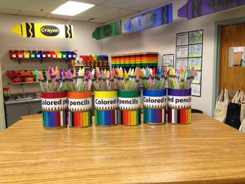 Colored Pencils Labeling Cards for Bins or Labels & Classroom Organization