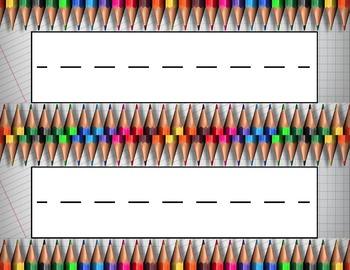 Colored Pencils Desk Name Tag Plates Set