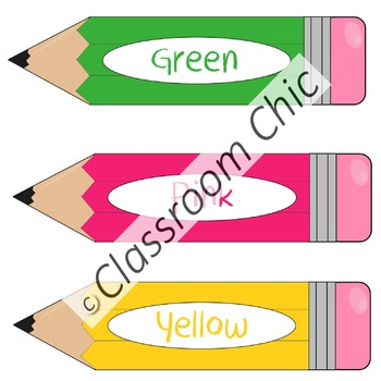 Colored Pencils and Their Names Clip Art
