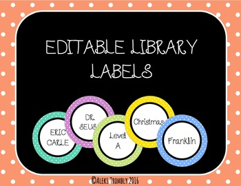 Colored Polka Dot Library Labels *Editable!