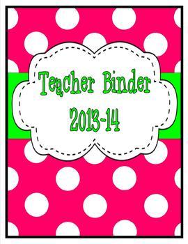 Colored Polka Dot Teacher Binder