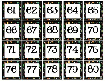 Colored Polka Dots on Black Hundreds Grid Numbers