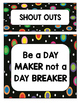 Colored Polka Dots on Black Shout Out Board