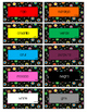 Colored Polka Dots on Black Spanish Labels