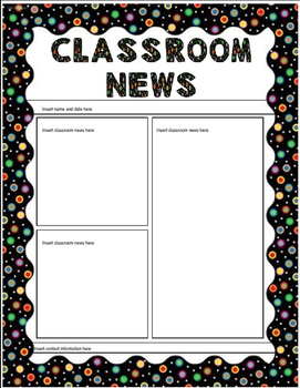 Colored Polka Dots on Black Themed Newsletter