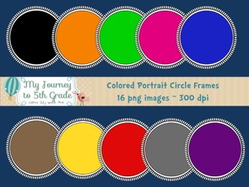 Colored Portrait Inspired Circle Frames- Clip Art