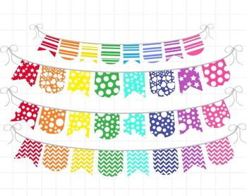 Colored Rainbow Banner - Digital Clip Art Graphics(139)