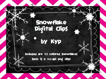Colored Snowflake Clipart Set