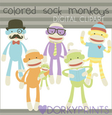 Colored Sock Monkeys Digital Clip Art