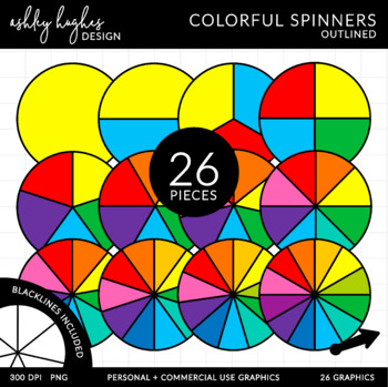 Colored Spinners Clipart {A Hughes Design}
