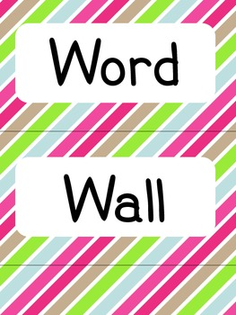 Colored Stripes Word Wall Letters