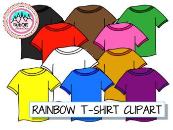 Colorful/Rainbow T-Shirt Clipart -- includes white tshirt