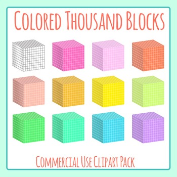 Colored Thousands Blocks - 10x10x10 Blocks Clip Art Set for Commercial Use