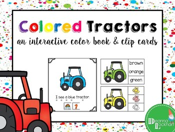 Colored Tractors - an interactive color book and clip cards