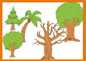 Tree cliparts with line art