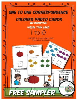 Colored Velcro Photo Cards numbers 1 - 10 with visual task directions