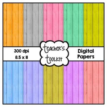 Colored Wood Digital Background Papers {8.5 x 11} Clip Art CU OK