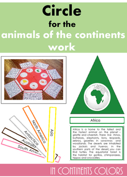 Colored circle for the animals of the continents work