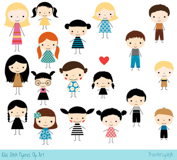 Colored stick figures clipart, Boys and girls clip art, Cute kids clipart set