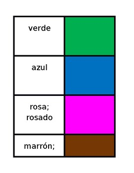 Colores (Colors in Spanish) Concentration games