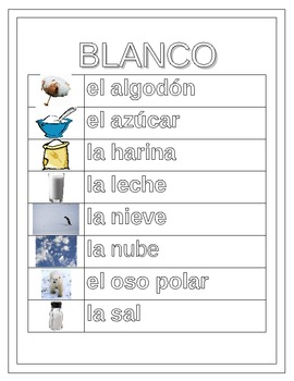 Colores (Colors in Spanish) Word Wall