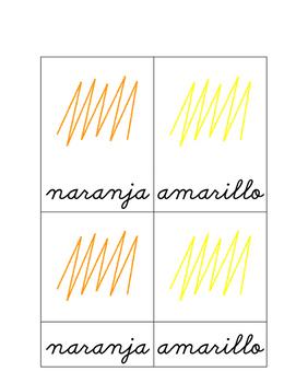 Colores en español (Cursive)