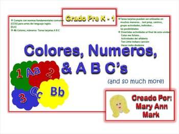 Colores, números y tarjetas Tarea ABC en español + muchas actividades