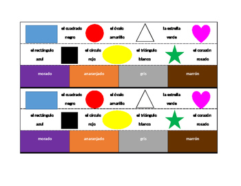 Colores y Formas (Colors and Shapes in Spanish) Desk strips