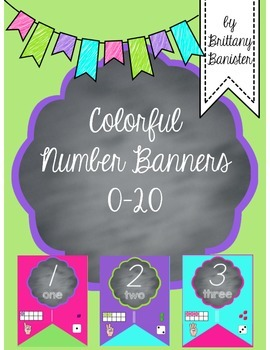 Colorful 0-20 Number Line Banner D'Nealian