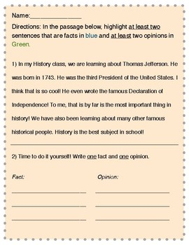 Colorful 2nd Grade Fact and Opinion Worksheet!