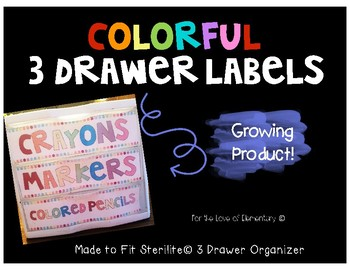 Colorful 3 Drawer Labels