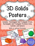 Colorful 3D Solids Posters (shapes with and without Volume