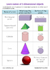 Colorful 3D-shapes worksheets and practical
