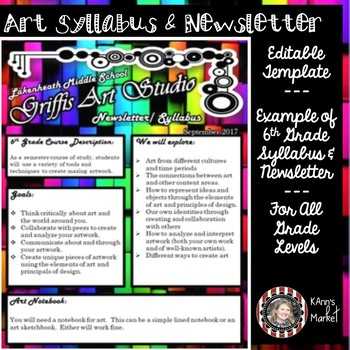 editable abstract art syllabus and newsletter template for all grades