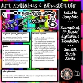 EDITABLE Abstract Art Syllabus and Newsletter TEMPLATE for