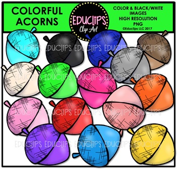 Colorful Acorns Clip Art Bundle {Educlips Clipart}