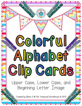 Colorful Alphabet Clip Cards - Upper and Lower Case, and Beginning Letter Image