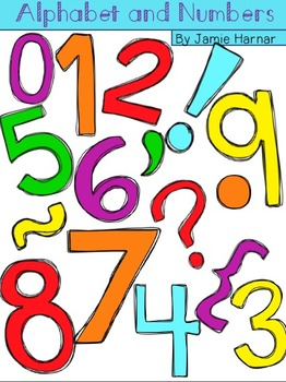 Alphabet and Numbers Doodle Clipart Rainbow Colors