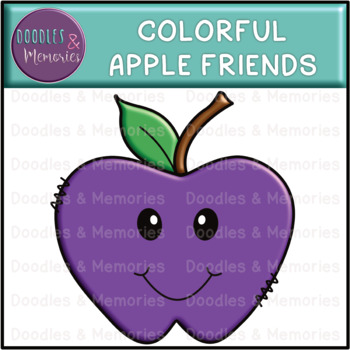 Colorful Apple Friends Clipart