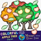 Colorful Apple Trees Clip Art