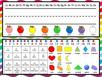 Colorful Apples Name Plate and Resource Mat (ABC, Numbers, Colors)