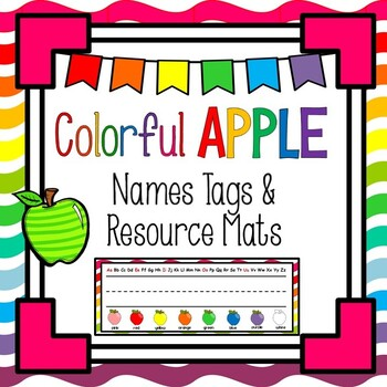 Colorful Apples Name Plate and Resource Mat (ABC, Numbers,