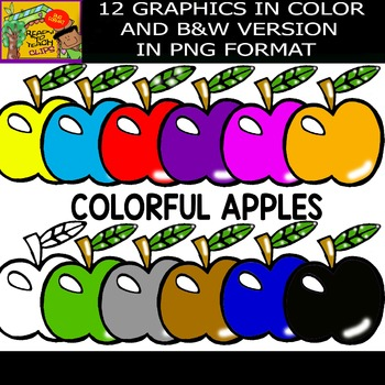 Colorful Apples - Set of Cliparts
