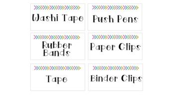 Teacher Toolbox Labels - Colorful Arrows - Editable
