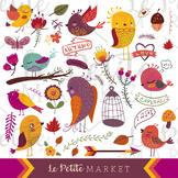 Colorful Autumn Bird Clip Art Set, Birds & Plants Clipart, Cute Bird Clip Art