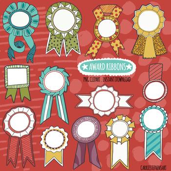 Colorful Award Ribbon Clip Art, Recognition of Achievement & Celebration