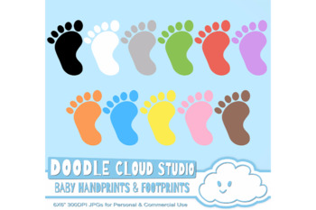 Colorful Baby FootPrints & Handprints Cliparts, Colorful Baby Hand & Foot